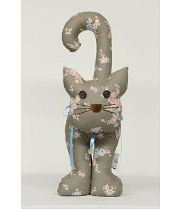 Shabby Chic Türstopper Katze, braun mit Blumen