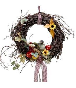 Garten Herbstkranz Birke mit Vogel