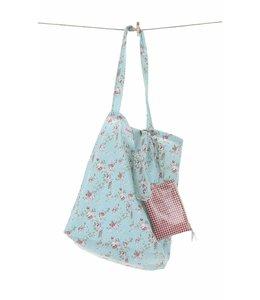 Shabby Chic Shopping Bag mit Blumen, blau
