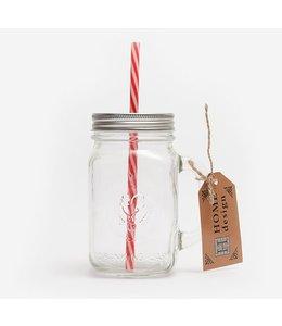 Landhaus Mason Jar Glas mit rotem Strohhalm, 4er Set