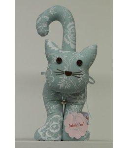 Shabby Chic Türanschlag Katze mit Blumenmotiv, pastellgrün