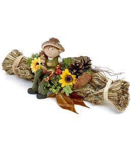 Garten Deko-Zopf Pilzkind mit Herbstdekoration