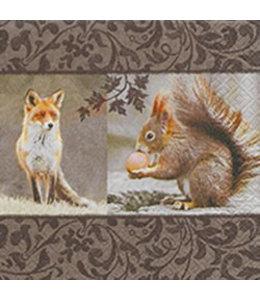 Landhausstil Servietten Fuchs und Eichhörnchen