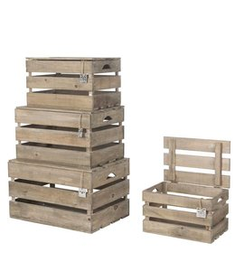 Landhaus Holzkisten mit Deckel 4er-Set
