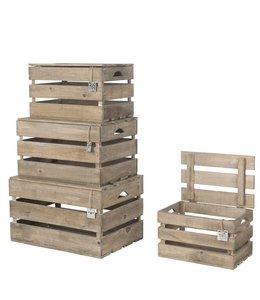 Shabby Chic Holzkisten mit Deckel 4er-Set