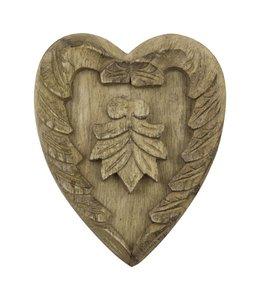 Landhaus Wanddekoration Herz aus Holz - 2er Set