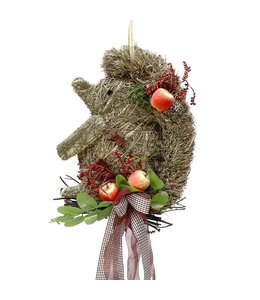 Herbstdekoration Igel mit Äpfeln