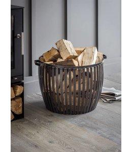 Landhaus Stahlkorb für Feuerholz