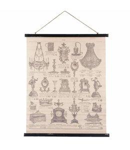 Französische Wandkarte mit alten Deko-Accessoires