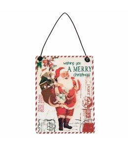 Landhaus Deko-Schild Postkarte mit Weihnachtsmann - 6er Set