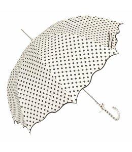 Regenschirm weiß - schwarz gepunktet