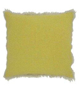 Landhaus Kissen Stone Washed Kissenhülle gelb - 45x45