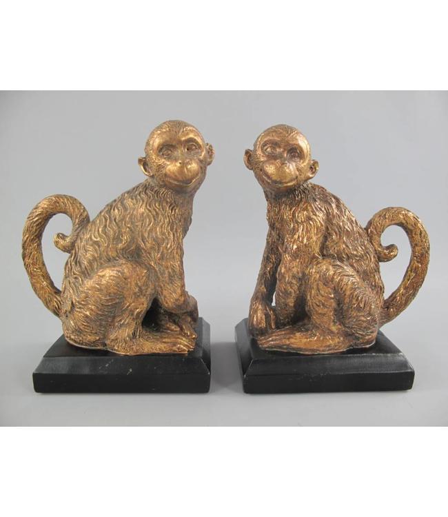 Buchstützen Affen gold