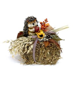Garten Strohballen mit Igel - Herbstdekoration