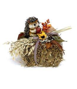 Landhaus Herbstdeko Strohballen mit Igel - Herbstdekoration