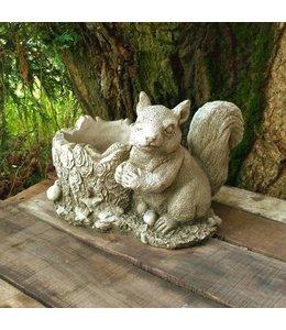 Steinfigur Eichhörnchen mit Blumentopf