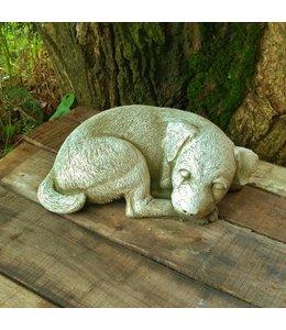 Steinfiguren für den Garten Steinfigur Hundewelpe schlafend
