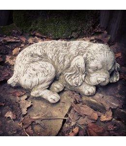 Steinfiguren für den Garten Steinfigur Cocker Spaniel - Welpe schlafend