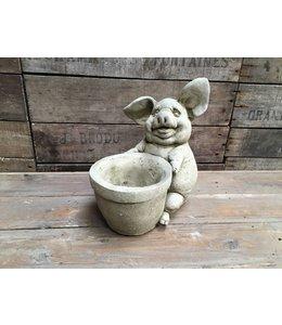 Steinfigur Schwein mit Blumentopf