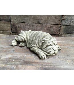 Steinfigur Faltiger Hund