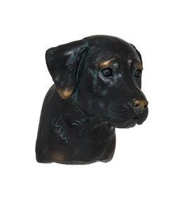 Garten Labrador-Kopf handbemalt mit Bronze-Finish