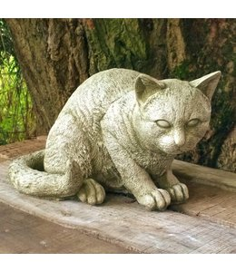 Steinfiguren für den Garten Steinfigur Katze mit Antik-Patina
