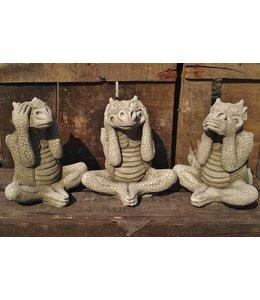 Steinfiguren für den Garten Die 3 weissen Drachen als Steinfiguren
