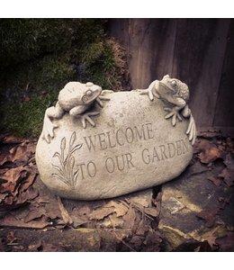 """Steinfiguren für den Garten Stein mit Fröschen """"Welcome to our Garden"""""""
