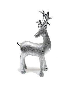 Weihnachtsdekoration Rentier silber-matt Porzellan