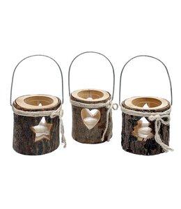 Weihnachtsdekoration Teelichthalter Winterstimmung im Landhaus - 3er Set