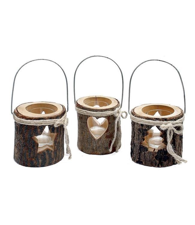 Teelichthalter Winterstimmung im Landhaus - 3er Set