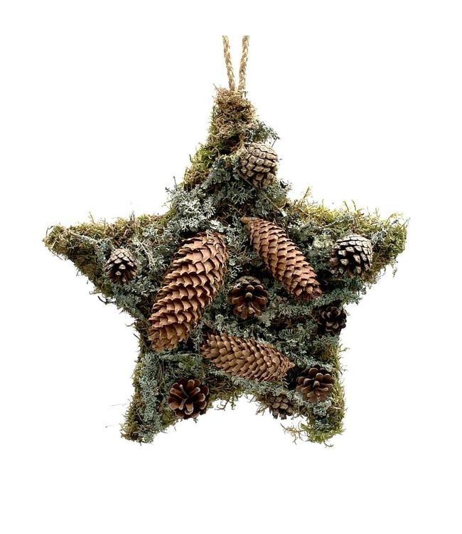 Weihnachtsdekoration Stern mit Zapfen - Winterdeko im Landhausstil