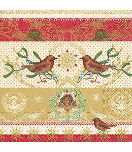 Servietten Rotkehlchen und Weihnachtsengel