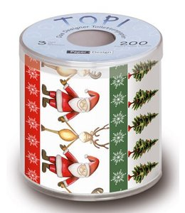 Toilettenpapier Toilettenpapier - Weihnachtsmann mit Rentier
