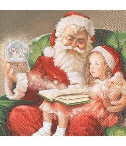Landhaus Servietten Servietten Weihnachtsmann mit Kind