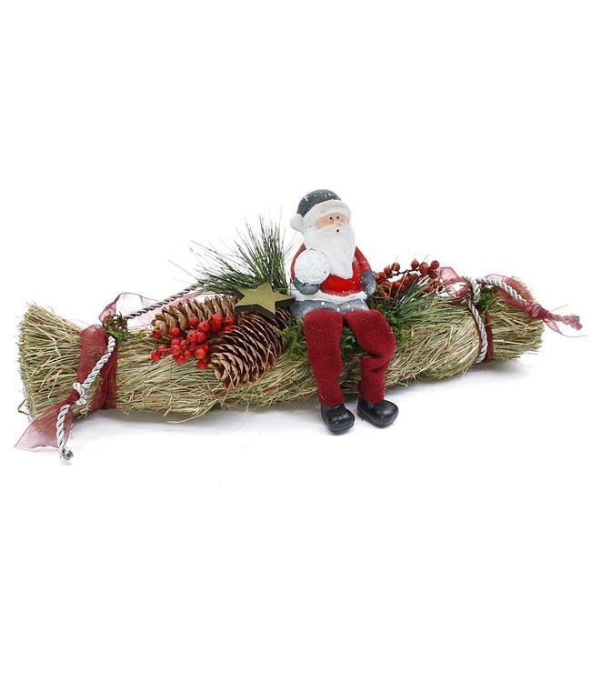 Stroh-Zopf mit Weihnachtsmann