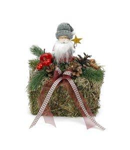 Strohballen mit Weihnachtsmann