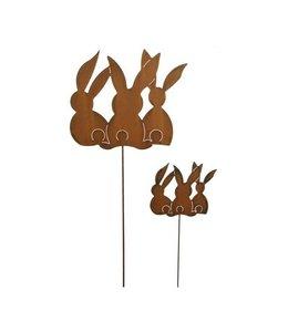 Gartenstecker Hasengruppe - Rostige Gartendeko