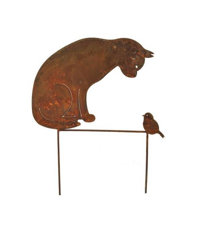 Gartenstecker Katze & Vogel - Rostige Gartendeko