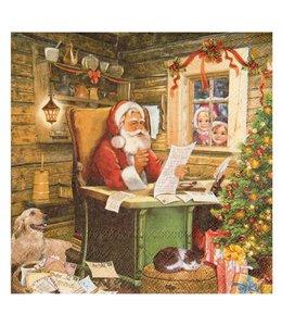 Landhaus Weihnachtsdeko Servietten Weihnachtsmann mit Wunschzettel