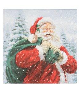Landhaus Weihnachtsdeko Papierservietten Weihnachtsmann mit Sack