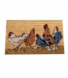 """Fussmatte """"Hühner"""" im alpenländlichen Landhausstil"""