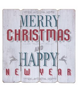 "Schild ""Merry Christmas and Happy New Year"""