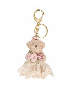 "Schlüsselanhänger ""Teddybär mit Rosen"" Landhausstil"