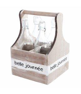 Flaschenträger mit 4 Glasflaschen - Landhaus