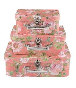 Landhaus Aufbewahrungsboxen Rosen 3er Set
