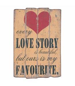 """Holzschild """"Love Story"""""""