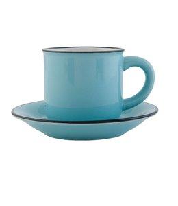 """Kaffeetasse mit Untertasse """"Emaille Look"""" Keramik, blau"""