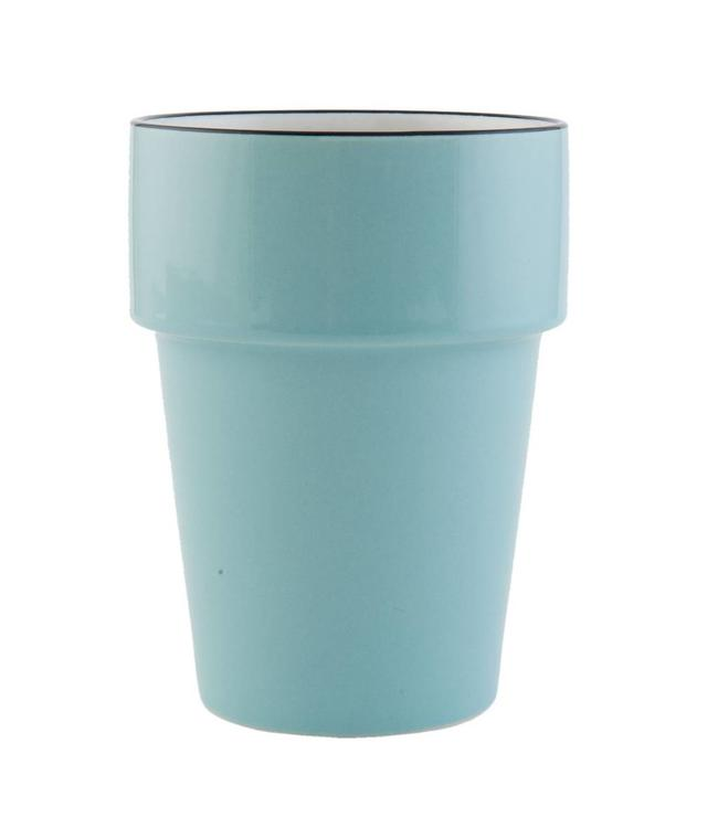 "Becher ""Emaille Look"" Keramik, blau"