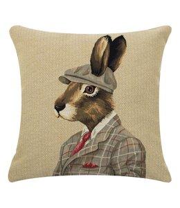 """Kissenhülle """"Hase mit Tweedmütze"""" im englischen Landhausstil"""